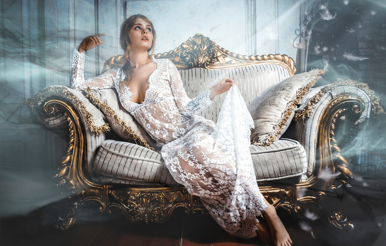 Photo wallpaper pose, style, sofa, model, pillow, makeup, figure, dress, hairstyle, brown hair, beauty, sitting, in white, …