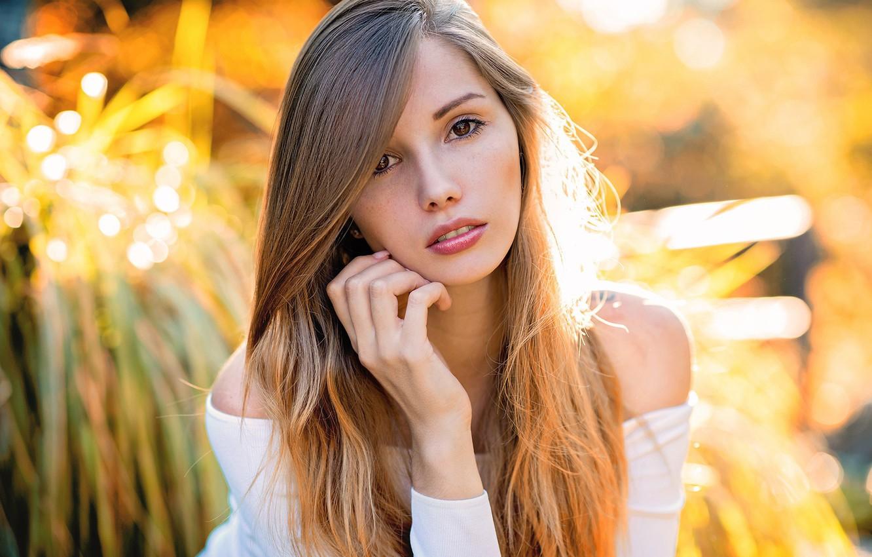 Photo wallpaper girl, long hair, brown eyes, photo, photographer, model, lips, face, brunette, sunlight, portrait, mouth, close …