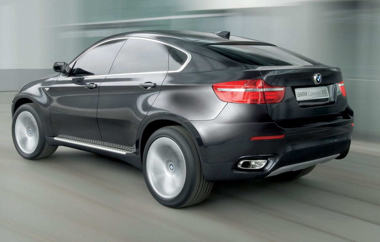 Photo wallpaper road, BMW X6, the speed of movement