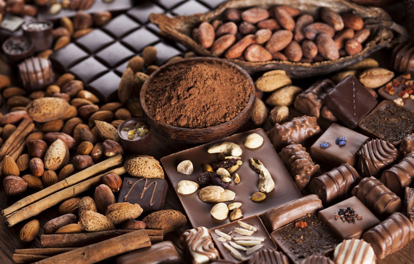 Photo wallpaper chocolate, candy, nuts, chocolate, nuts, cocoa, sweets, candy