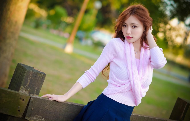 Photo wallpaper hair, skirt, blouse, Asian, cutie