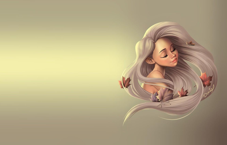 Photo wallpaper autumn, girl, sheet, the wind, art, maple, maple leaf, Dennia (Laura Garcia)