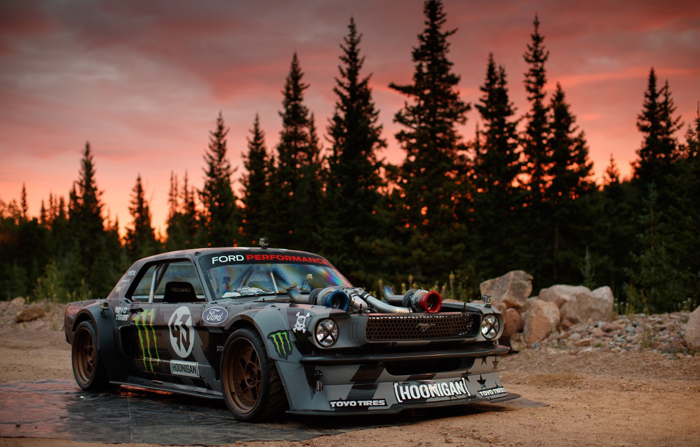 Photo wallpaper Mustang, Ford, 1965, Ken Block, Hoonicorn, 1400HP, Larry Chen