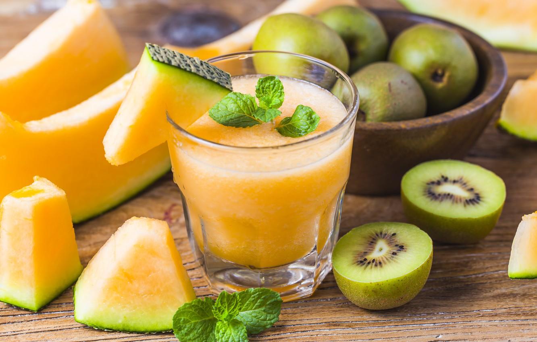 Photo wallpaper kiwi, juice, drink, mint, melon