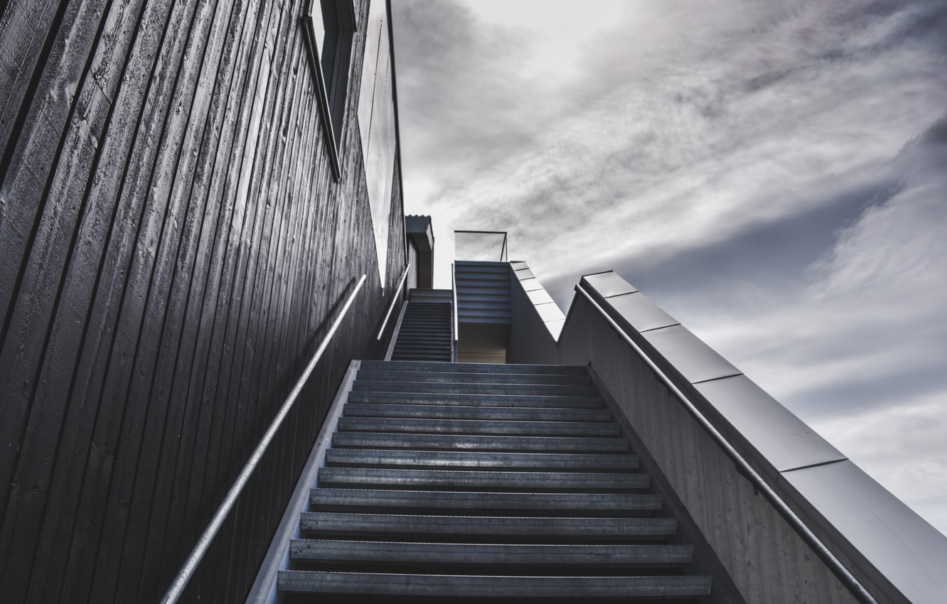 Photo wallpaper sky, stairs, gray and black colors
