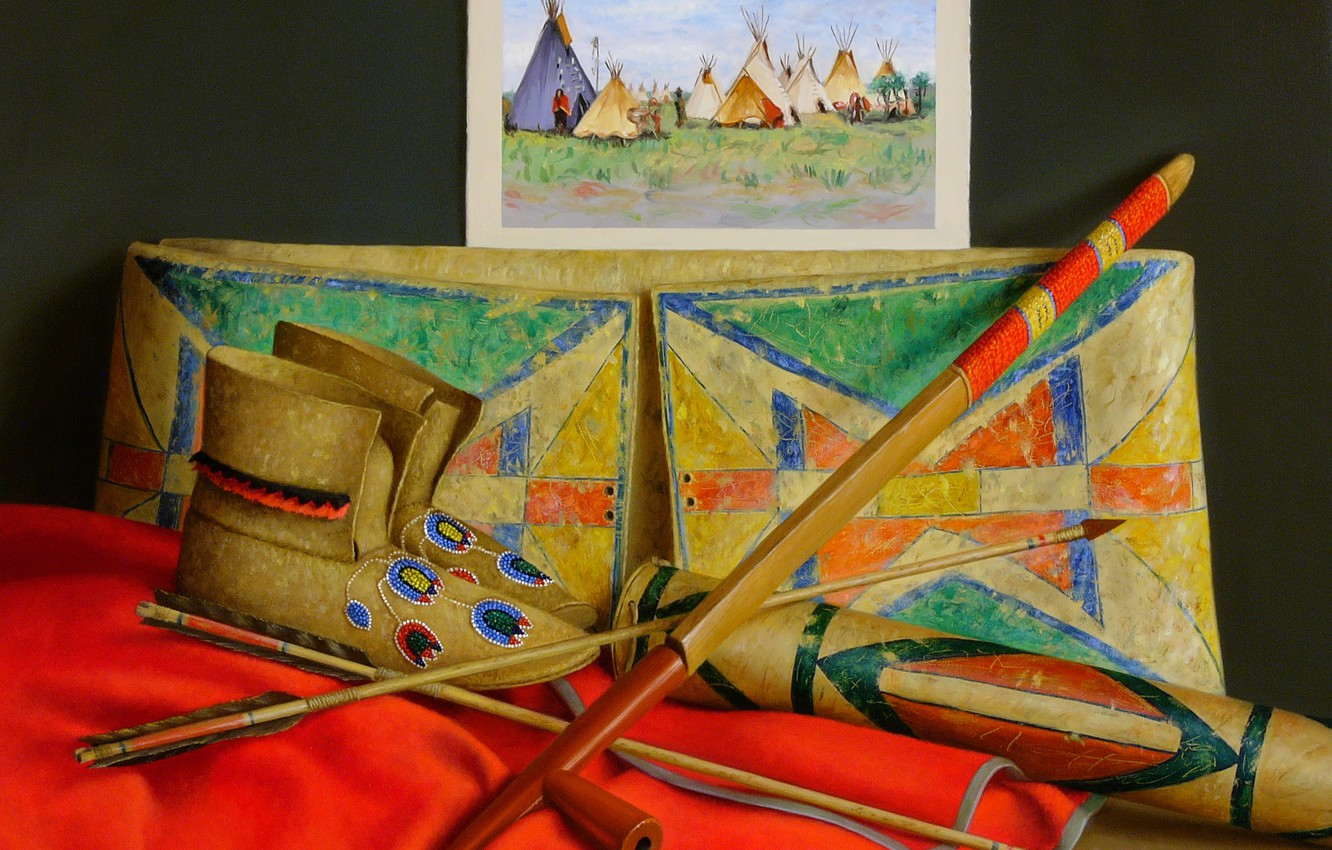 Photo wallpaper picture, cane, boots, arrows, Still life, Many Crow, William Acheff, Indian still life