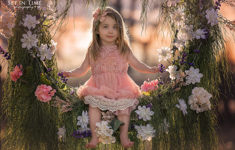 Photo wallpaper grass, flowers, nature, swing, girl, child
