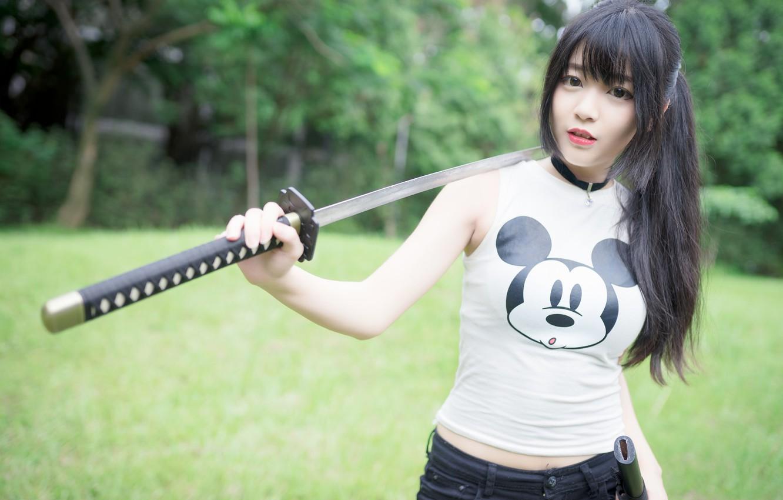 Photo wallpaper look, girl, sword, Asian, cutie