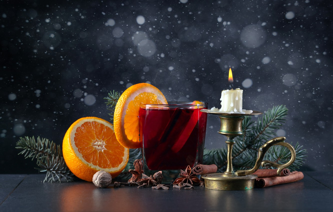 Photo wallpaper snowflakes, glass, table, background, fire, holiday, orange, candle, walnut, Christmas, New year, drink, cinnamon, candle …