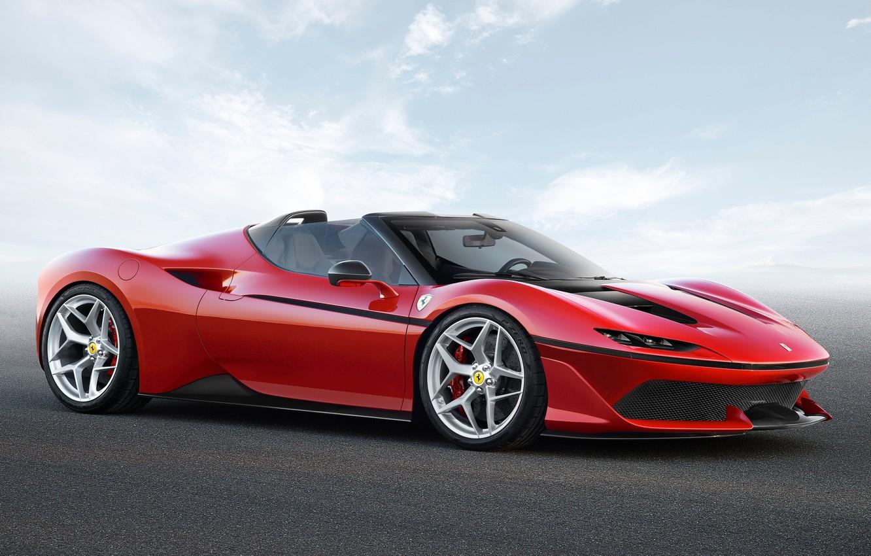 Photo wallpaper car, Ferrari, red, logo, sky, cloud, horse, asphalt, kumo, stallion, Ferrari J50, J50