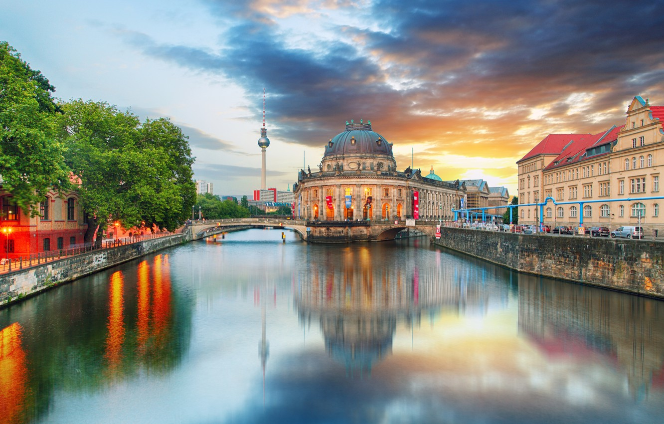 Photo wallpaper the sky, trees, sunset, river, tower, home, Germany, channel, bridges, Palace, Berlin, The Bode Museum, …