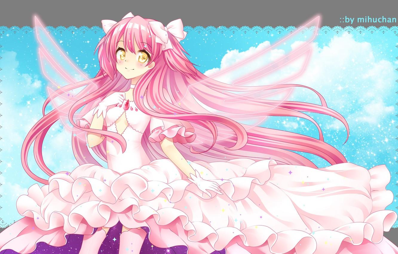 Photo wallpaper Look, girl, Pink dress