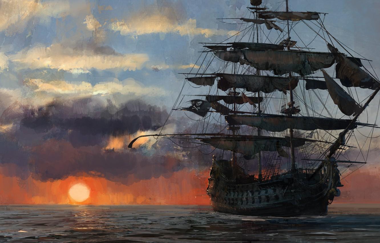 Photo wallpaper game, pirate, sunset, pirate ship, flag, ship, pirate flag, kaizoku, Skull and Bones