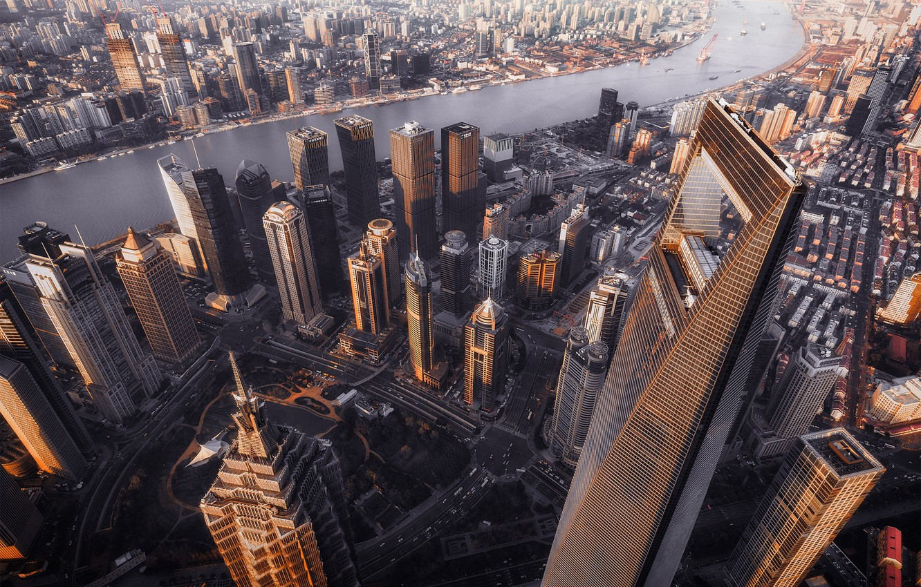 Photo wallpaper the city, river, home, China, Shanghai, the view from the top, China