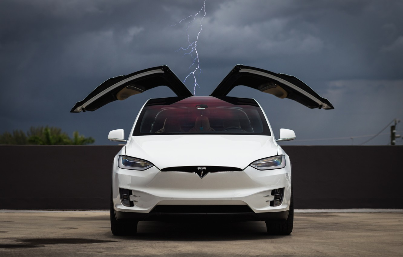 Photo wallpaper Clouds, White, Tesla, Falcon, Model X, Wing, Lighting, Electric Car