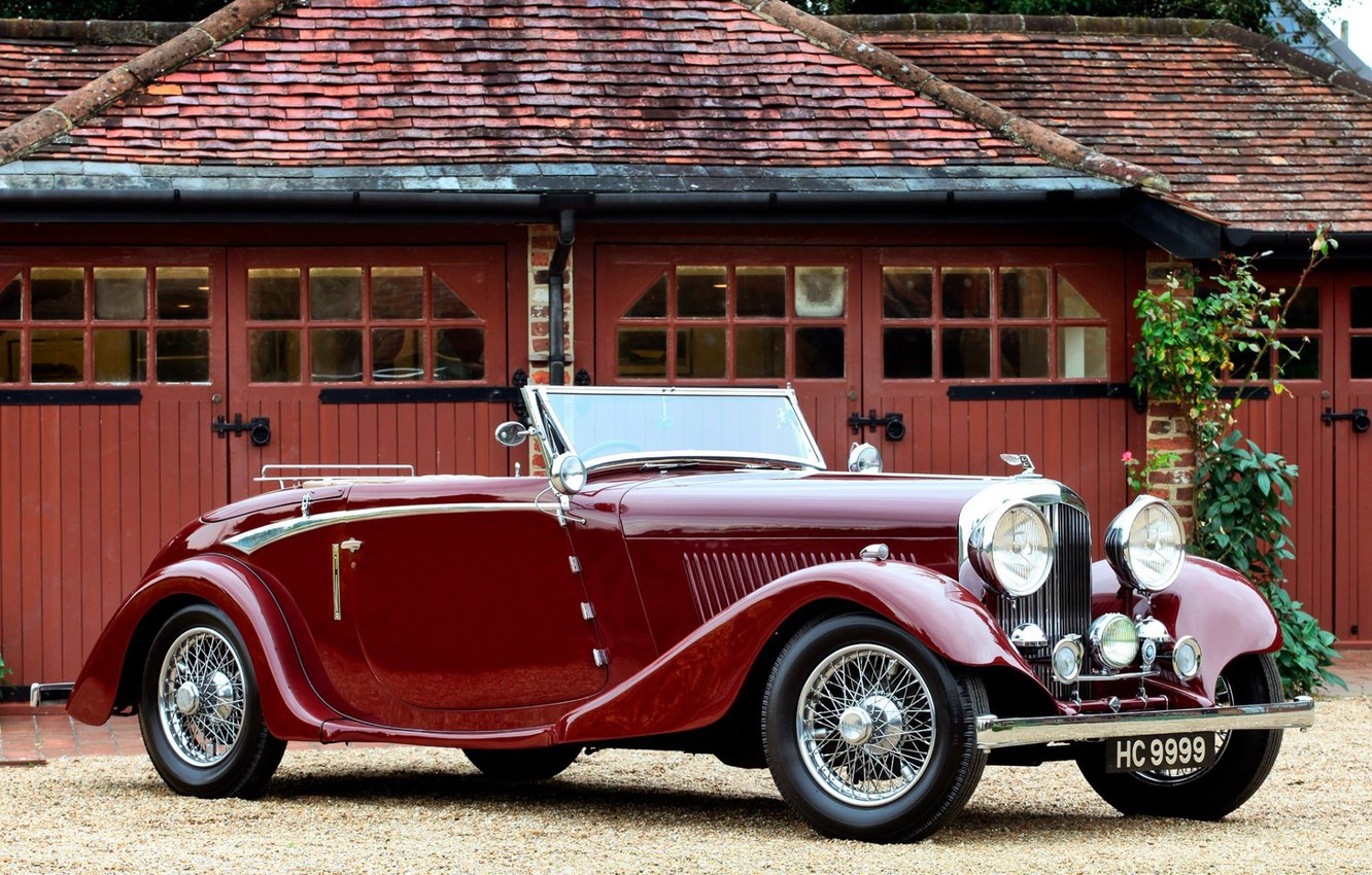 Photo wallpaper convertible, retro, coupe, luxury, 1934, red old car, Bentley Drophead
