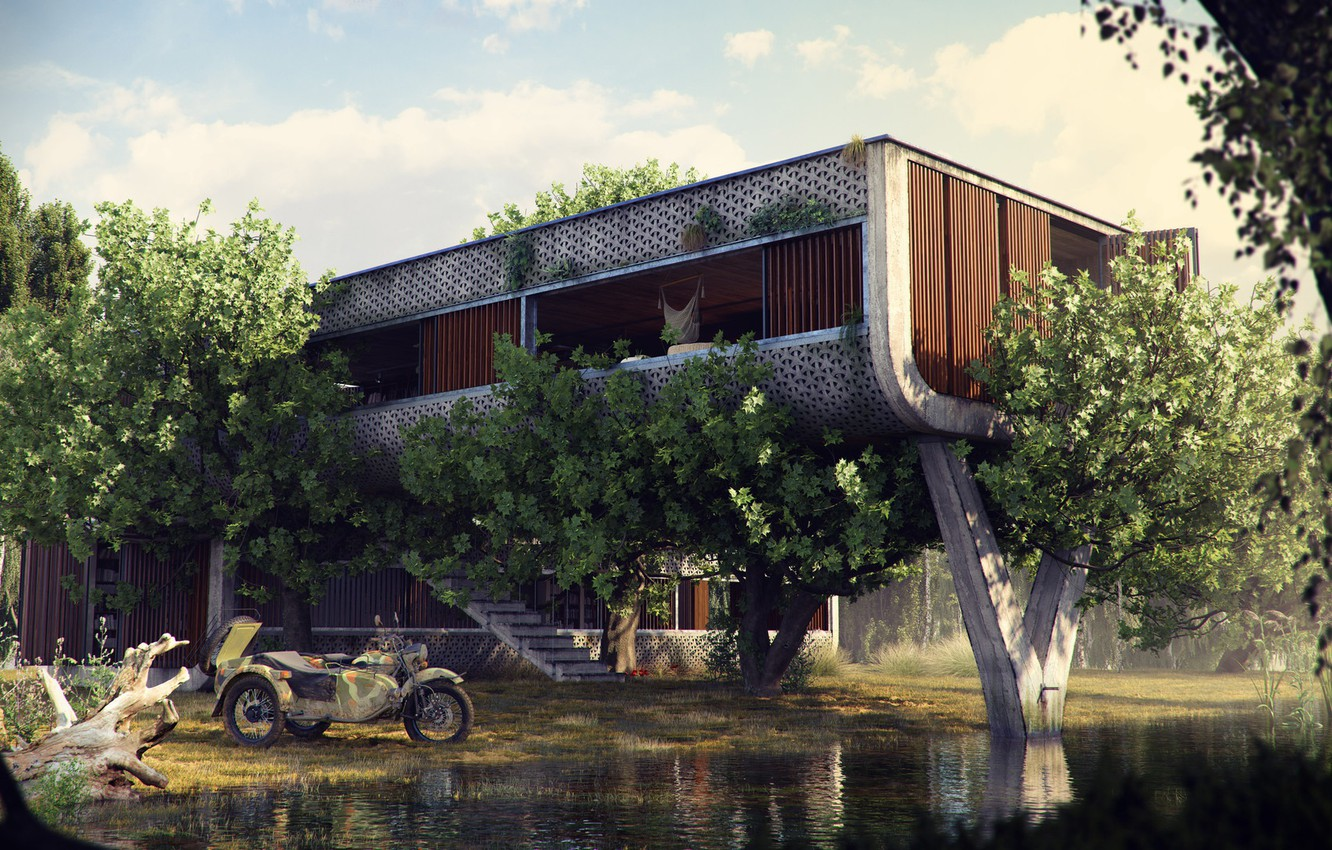 Photo wallpaper vegetation, construction, motorcycle, The Outpost, pond