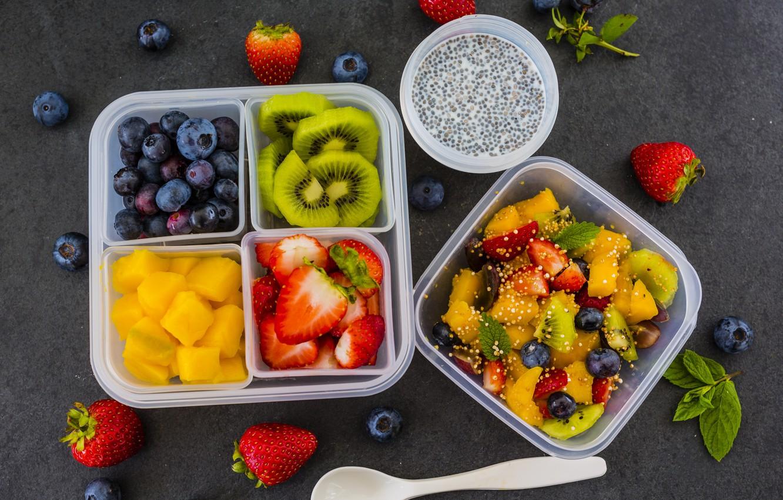 Photo wallpaper berries, kiwi, blueberries, strawberry, pineapple, dessert, fruit, yogurt, fresh berries