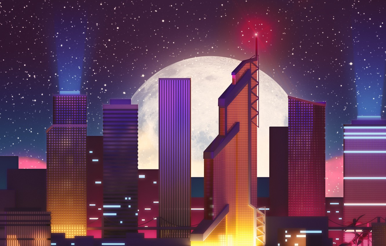 Photo wallpaper Night, The city, Stars, The moon, Neon, Skyscrapers, Building, Background, Electronic, Synthpop, Darkwave, Synth, Retrowave, …