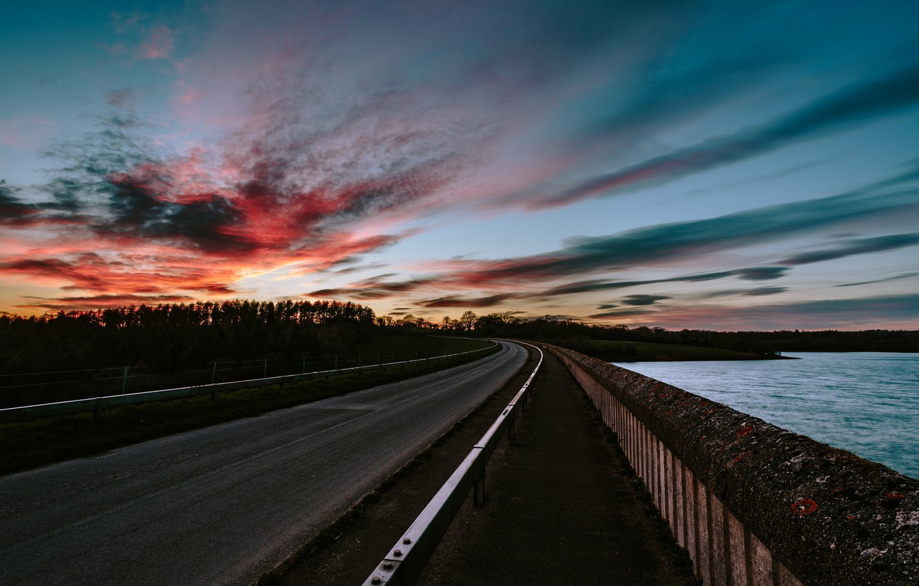 Photo wallpaper road, the sky, clouds, sunset