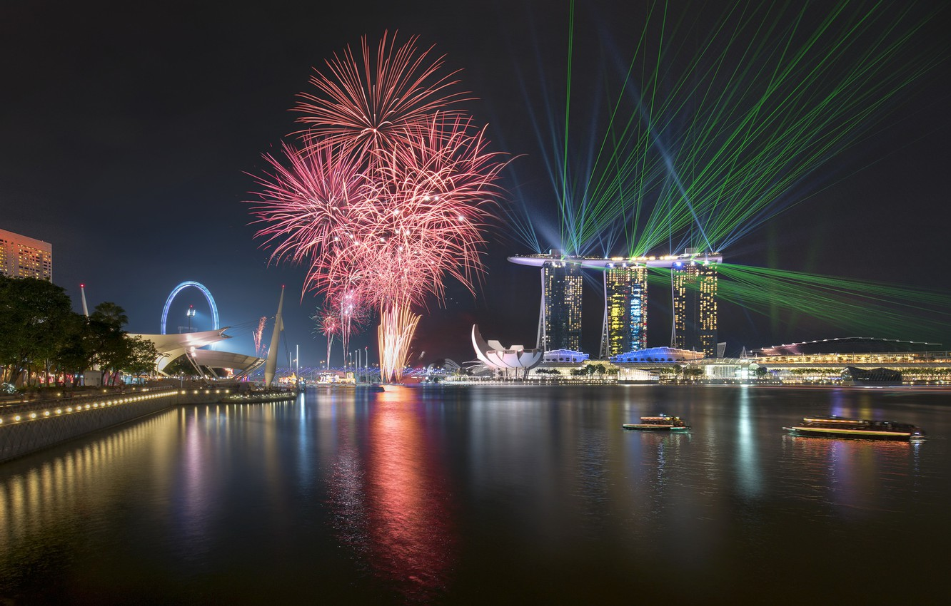 Photo wallpaper lights, lights, skyscrapers, salute, Singapore, architecture, megapolis, blue, night, fountains
