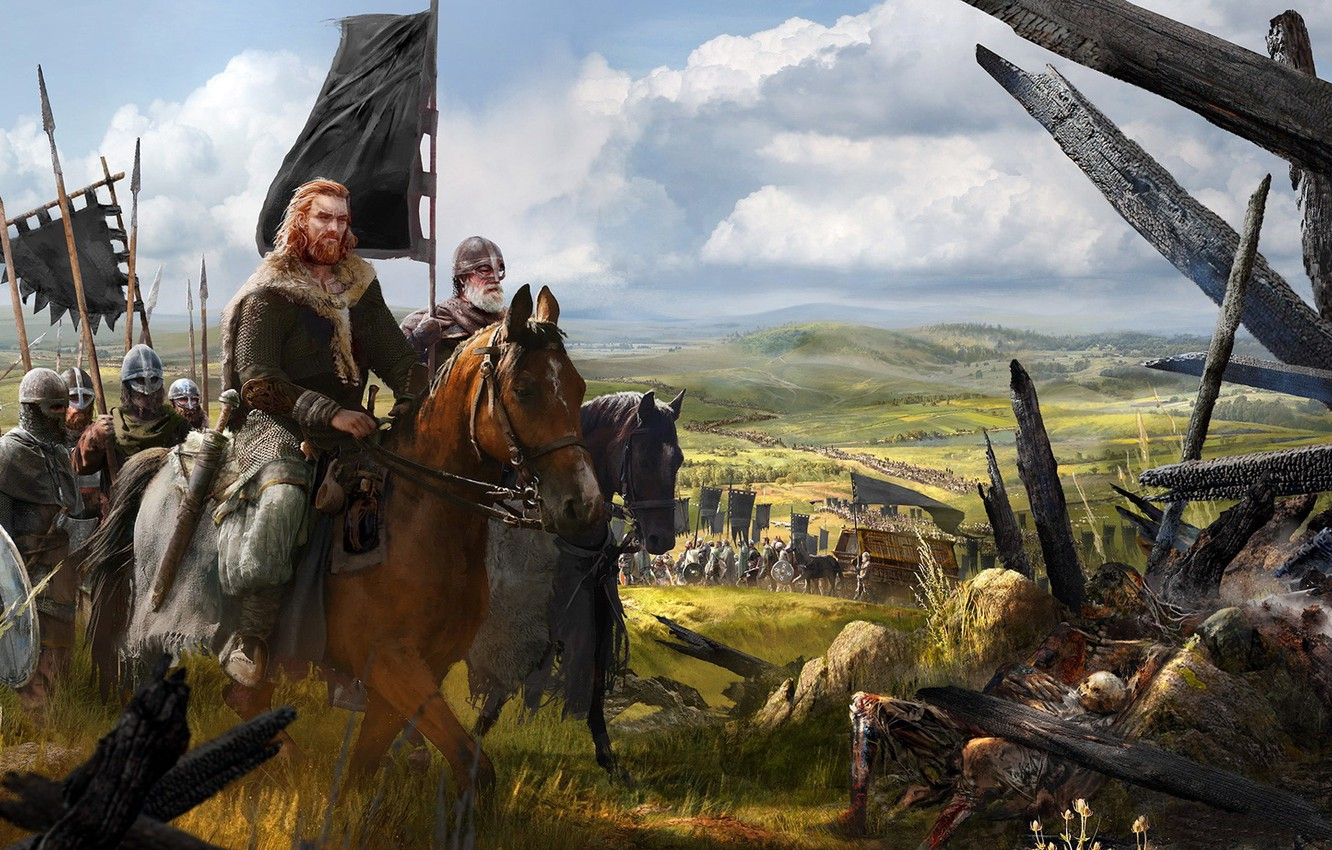 Photo wallpaper weapons, horse, army, armor, flag, warrior, hike, Stroy, squad, banner, Viking