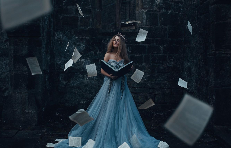 Photo wallpaper girl, dress, book, page, Bird Man, The Storyteller