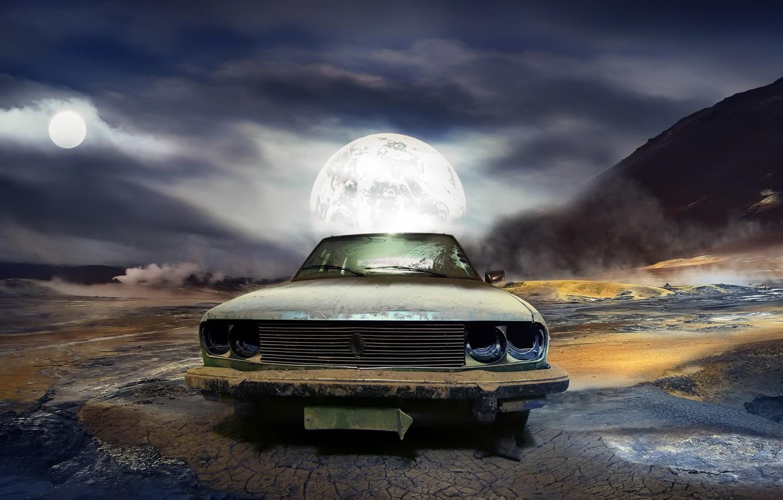 Photo wallpaper machine, night, the moon, scrap