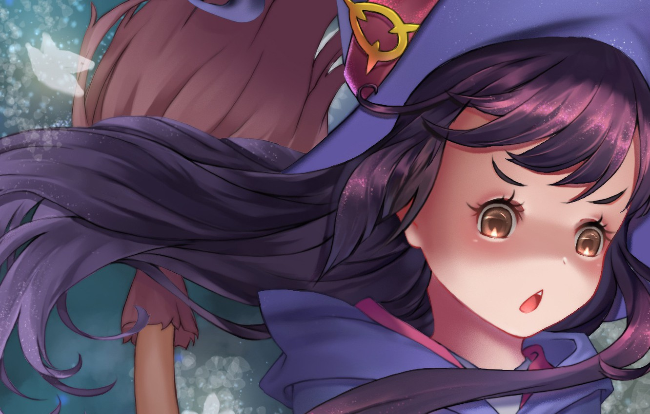 Photo wallpaper girl, anime, face, asian, witch, japanese, oriental, asiatic, bishojo, broom, shounen, mahou, Little Witch Academia