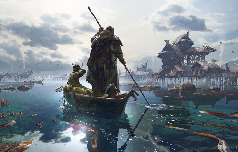 Photo wallpaper boat, settlement, Fishing Village, Fall Of Gods