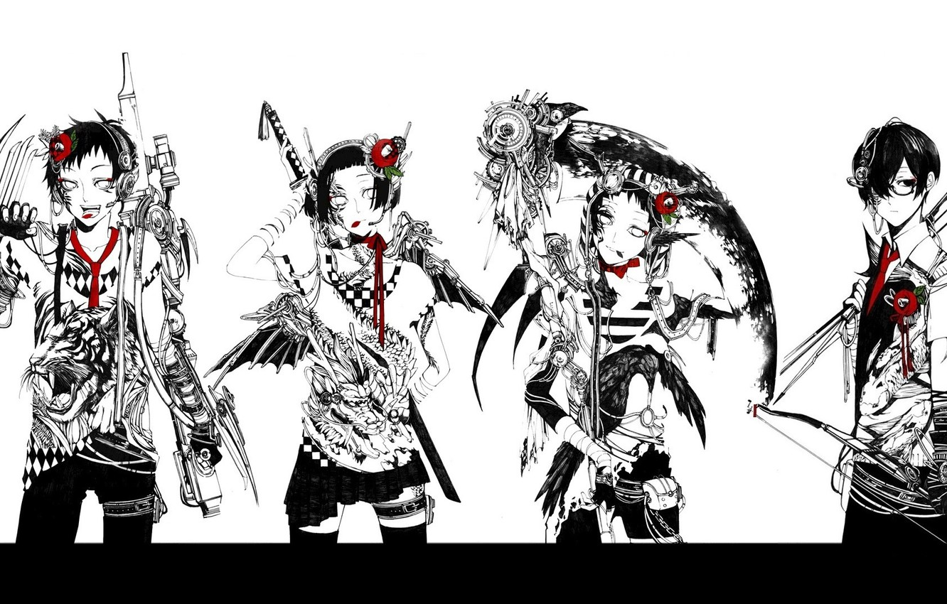 Photo wallpaper tiger, dragon, four, gang, Raven, cyberpunk, killer, death scythe, red Camellia, super-weapons, bow and arrow