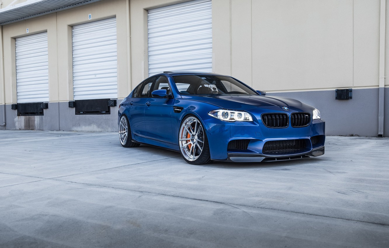 Photo wallpaper BMW, Blue, F10, Sight, LED