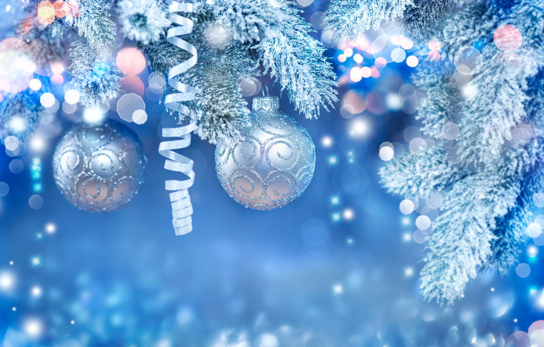 Photo wallpaper balls, Tape, Snow, New Year, Branches, Balls, bokeh