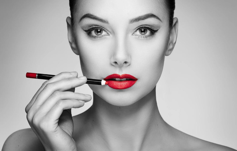 Photo wallpaper girl, face, style, portrait, makeup, lips, pencil, red lipstick