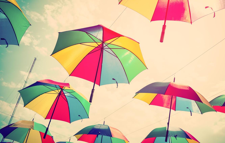 Photo wallpaper summer, the sky, colors, umbrella, colorful, umbrellas, rainbow, summer, flying, umbrella