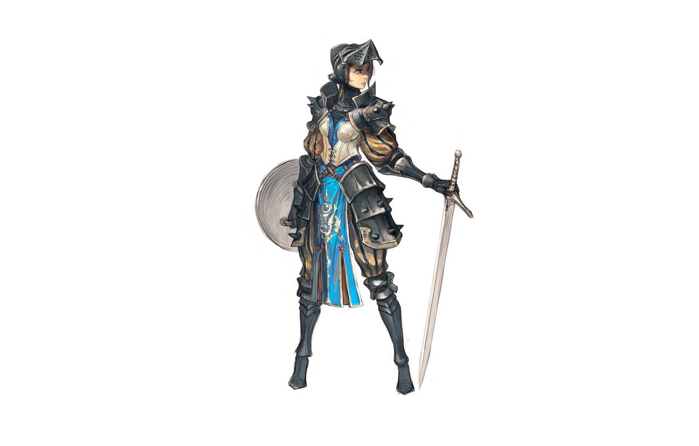 Photo wallpaper girl, sword, armor, knight