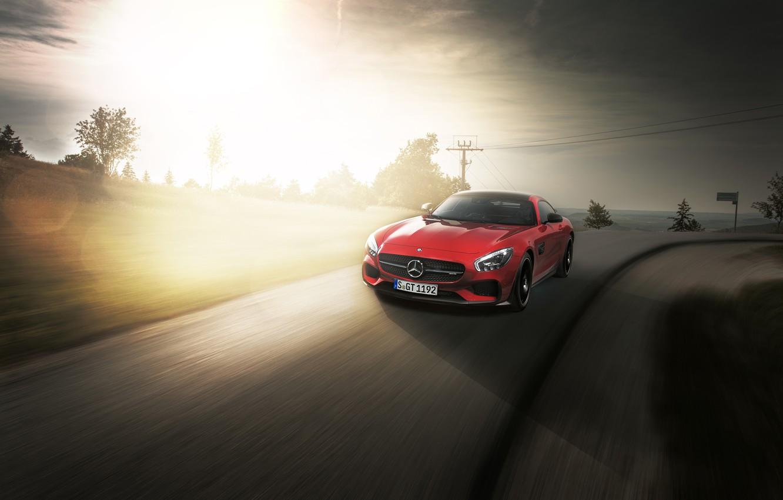 Photo wallpaper car, Mercedes, red, logo, sun, speed, asphalt, Mercedes AMG GTS