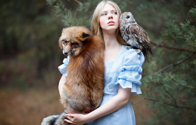 Photo wallpaper girl, owl, bird, Fox, red, friends, Julia Kowalska, photographer Svetlana Nicotine