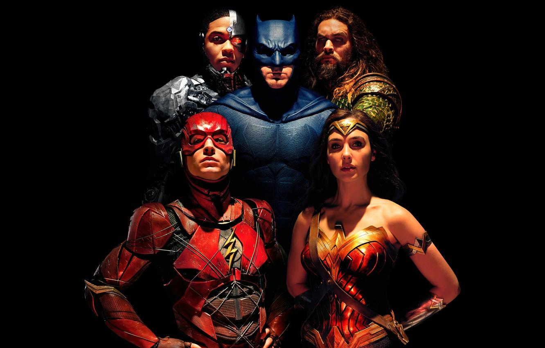 Photo wallpaper fiction, black background, Wonder Woman, poster, Batman, Ben Affleck, comic, superheroes, DC Comics, Bruce Wayne, …