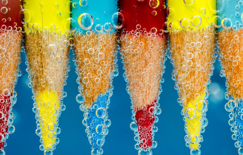 Photo wallpaper colors, colorful, red, bubbles, yellow, blue, water, miscellanea, Pencils