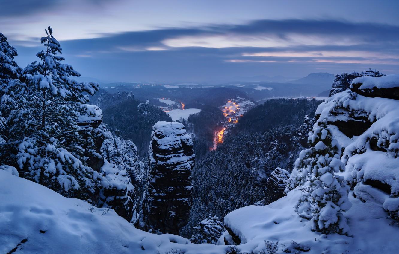Photo wallpaper winter, snow, trees, mountains, Germany, panorama, Germany, Saxon Switzerland, Saxon Switzerland, Elbe Sandstone mountains, Elbe …