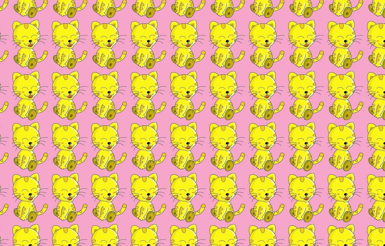 Photo wallpaper cat, smile, vector, art, pinstripes, children's