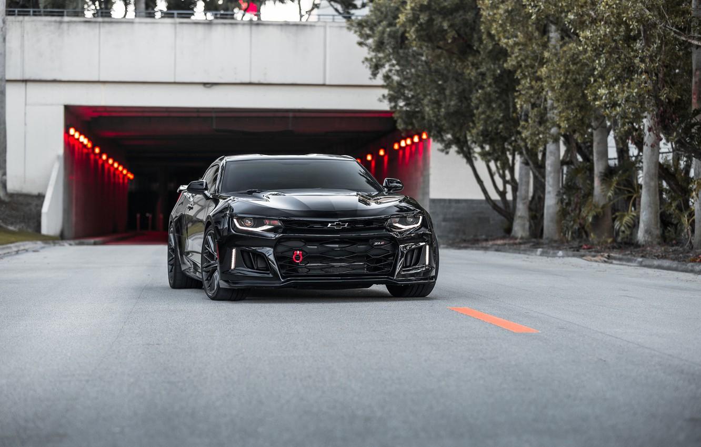 Photo wallpaper Chevrolet, Camaro, Black, America, Tunnel, Sight, ZL-1