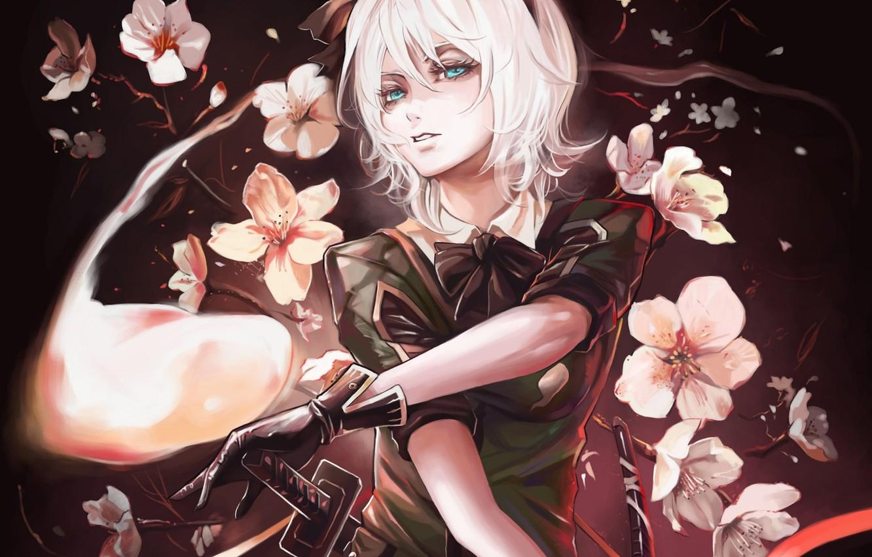 Photo wallpaper girl, flowers, Touhou