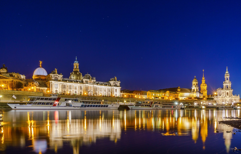 Photo wallpaper night, the city, lights, Germany, Dresden, Dresden