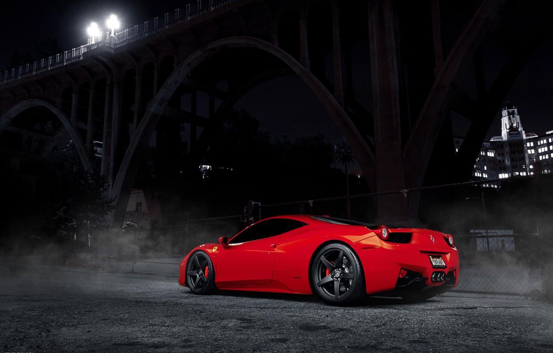 Photo wallpaper light, night, bridge, lights, Ferrari, red