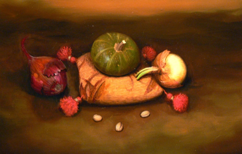 Photo wallpaper bow, still life, pistachios, cushion, Surrealism, Lazarev I. A
