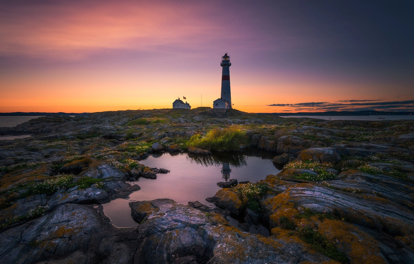 Photo wallpaper light, rocks, lighthouse, the evening, morning, puddle