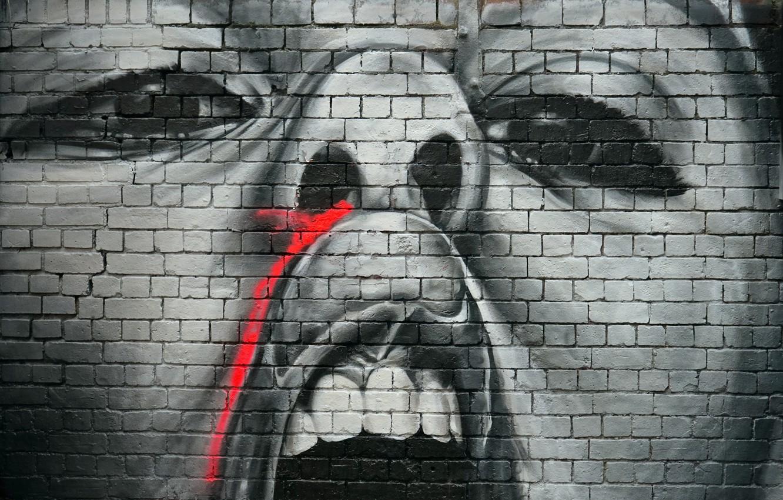 Photo wallpaper wall, graffiti, figure