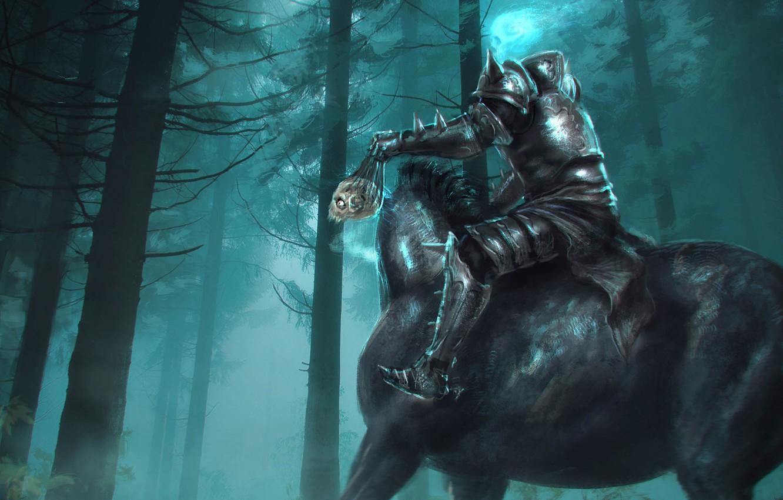 Wallpaper Sake Fantasy Forest Armor Trees Horse